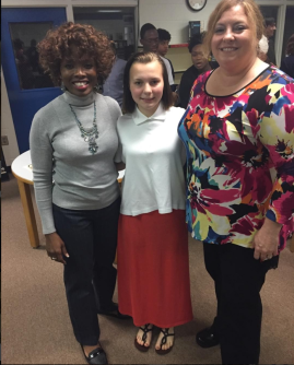 Poetry Out Loud Columbia County Alternative Winner 2017 -- Breanna Schiller (center) with Principal Janet Bishop (left) and Lead Teacher Robyn Eackloff (right)