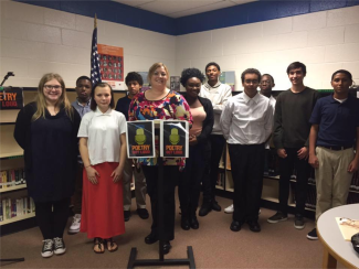 Poetry Out Loud contestants with Lead Teacher Robyn Eackloff